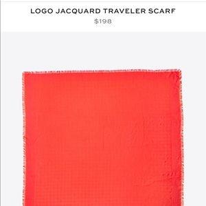 Tory Burch Jacquard logo Traveler scarf
